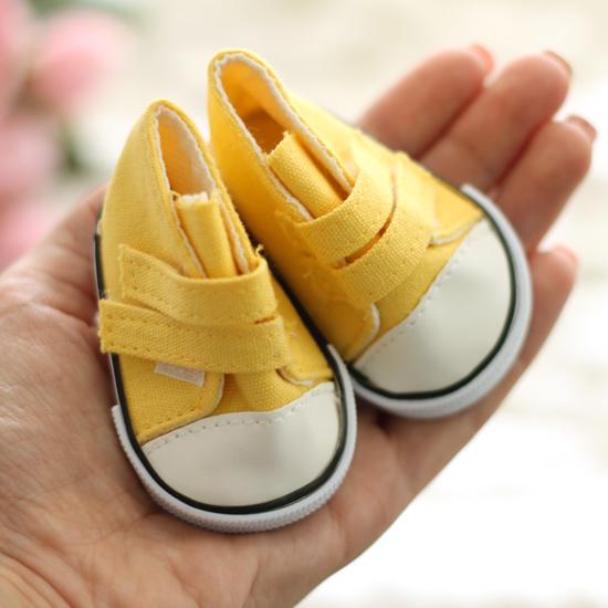 Обувь для кукол кеды на липучках 7,5 см  -  желтые