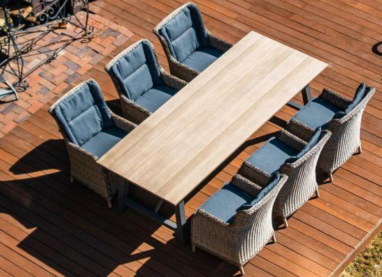 Комплект мебели из ротанга: стол ТЕРАМО (коричневый) + 6 кресел БЕРГАМО (цвет коричневый/серый)