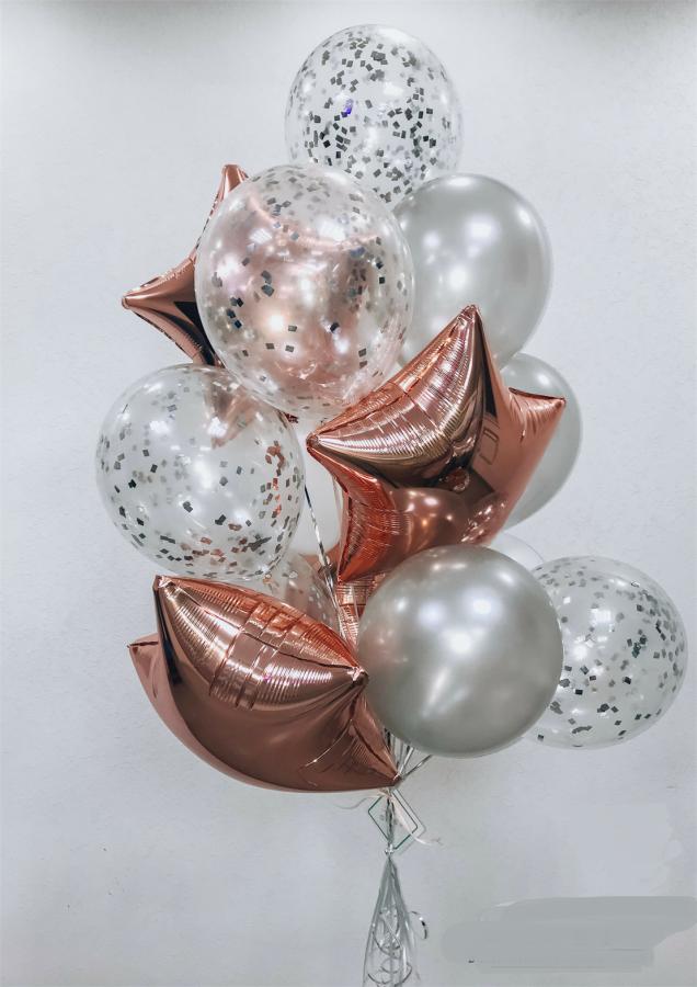 Гелиевые шарики Связка из 4 звезд, 4 шаров с конфетти, 4 стандартных шаров