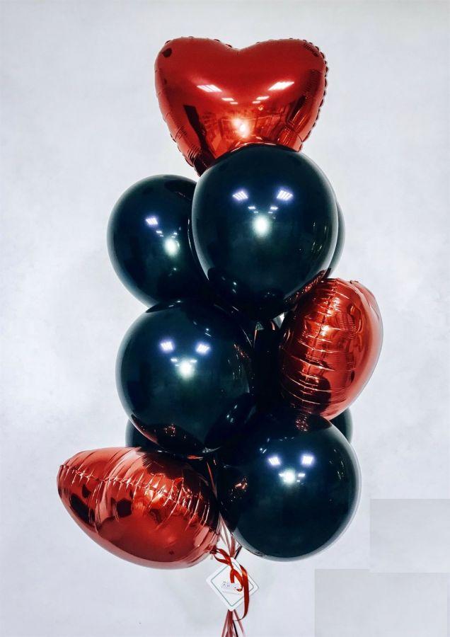 Связка из 3 фольгированных сердец и 8 стандартных шаров