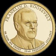 32-й президент США - Франклин Рузвельт. 1 доллар США 2015 года