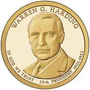 29-й президент США - Уоррен Гардинг. 1 доллар США 2014 года