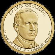 30-й президент США - Калвин Кулидж. 1 доллар США 2014 года