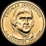 3-й президент США. Томас Джефферсон 1 доллар США