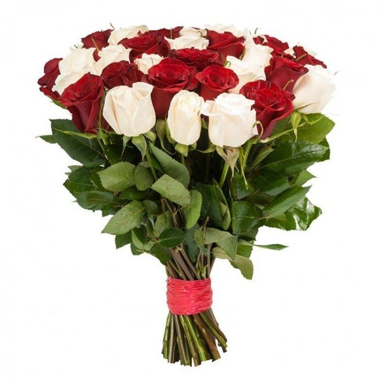 Букет из роз от 11 шт (красные и белые)