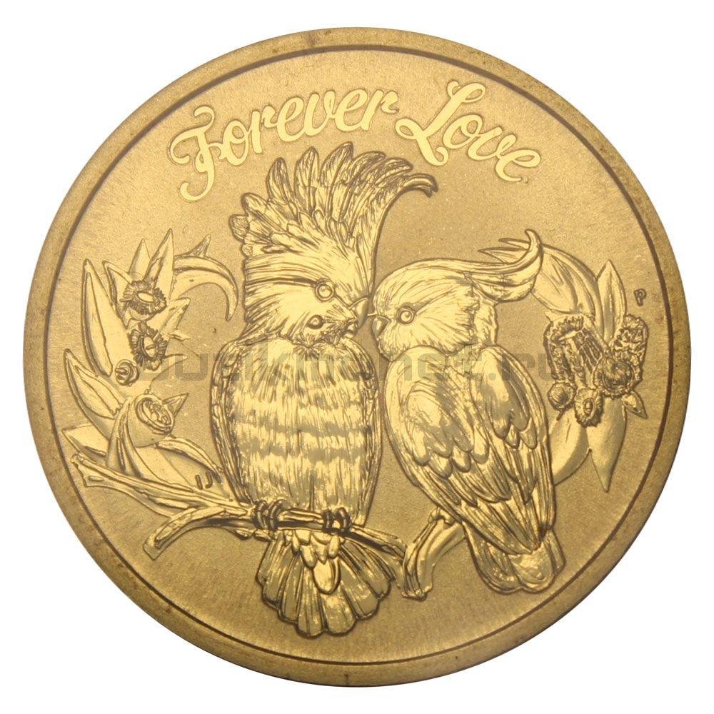 1 доллар 2014 Тувалу Попугаи Любовь навсегда