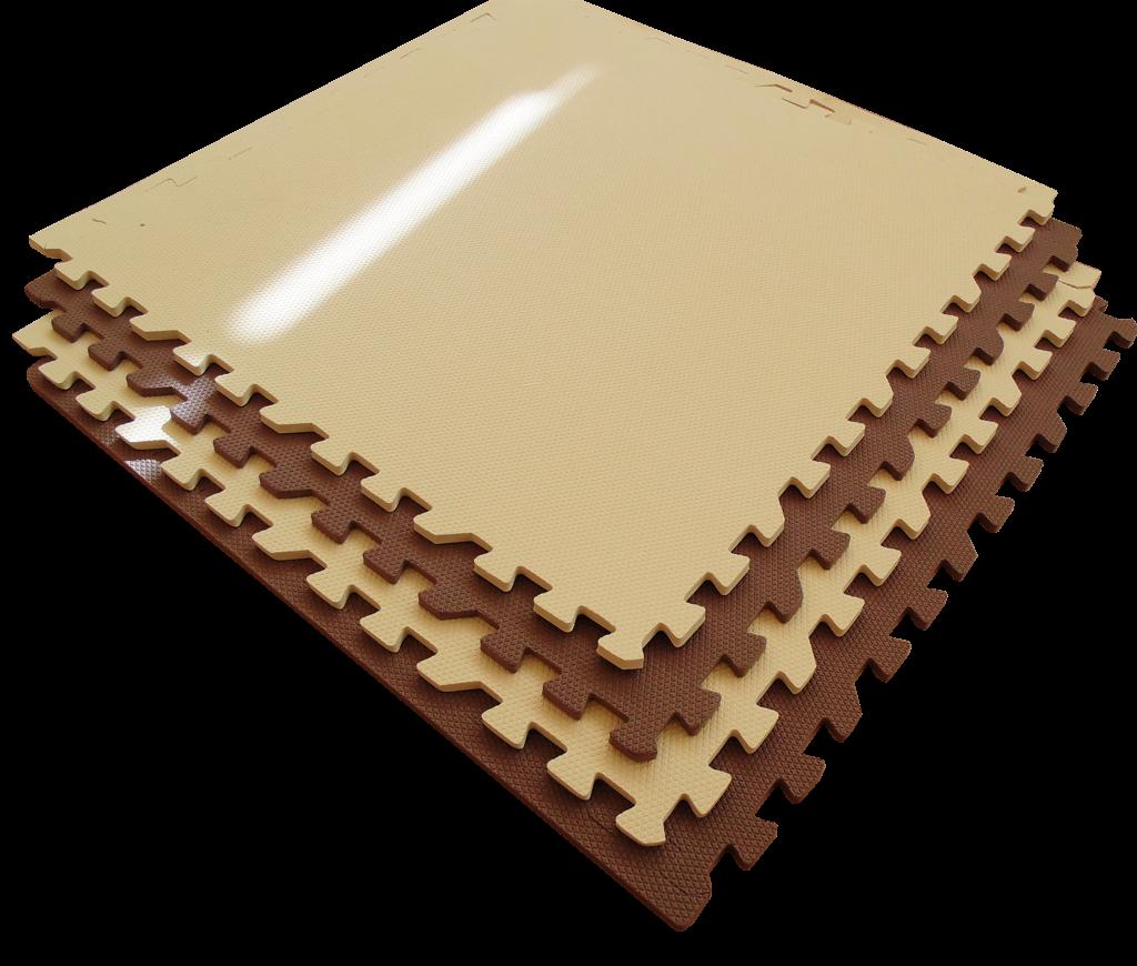 Мягкий пол универсальный 60*60 (см) Бежево-Коричневый с кромками