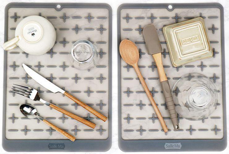 Силиконовый коврик для сушки посуды Sallema серый