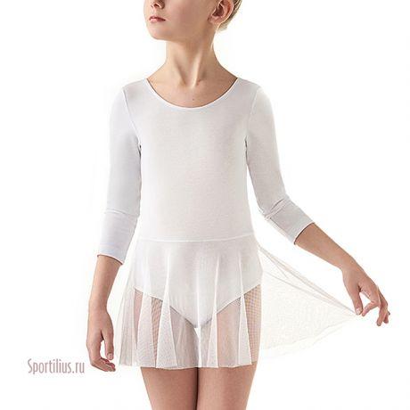 Купальник для гимнастики с юбкой белый