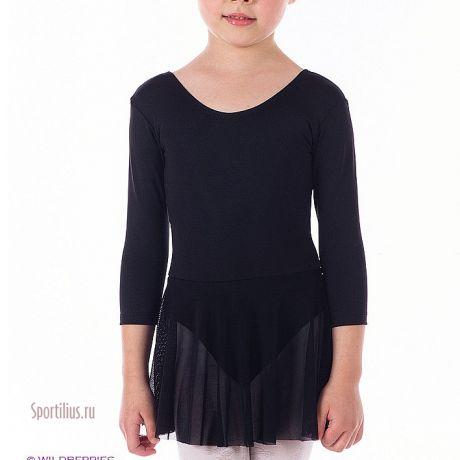 купальник с юбкой для гимнастики черный
