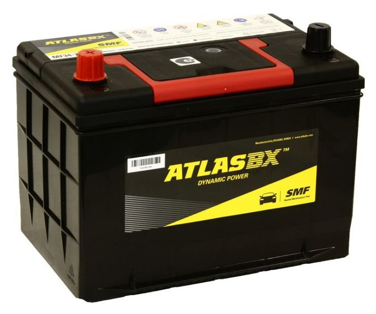 Автомобильный аккумулятор АКБ ATLAS (Атлас) 140RC MF34-710 75Ач п.п. нижнее крепление