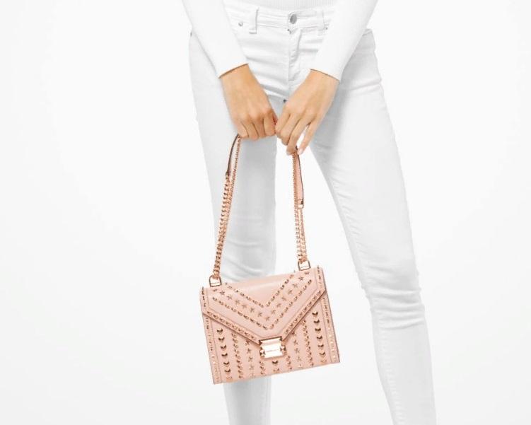 424cd1acd3cd Сумка MICHAEL KORS X YANG MI Whitney Large Studded Leather Shoulder Bag  Soft Pink. 33200