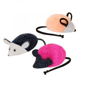 Игрушка для кошек с кошачьей мятой МЫШЬ 5 см иск.мех/текстиль (набор 10 шт)  ZOOEXPRESS
