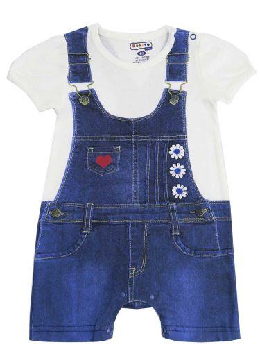 Полукомбинезон для новорожденных Bonito синий с цветами