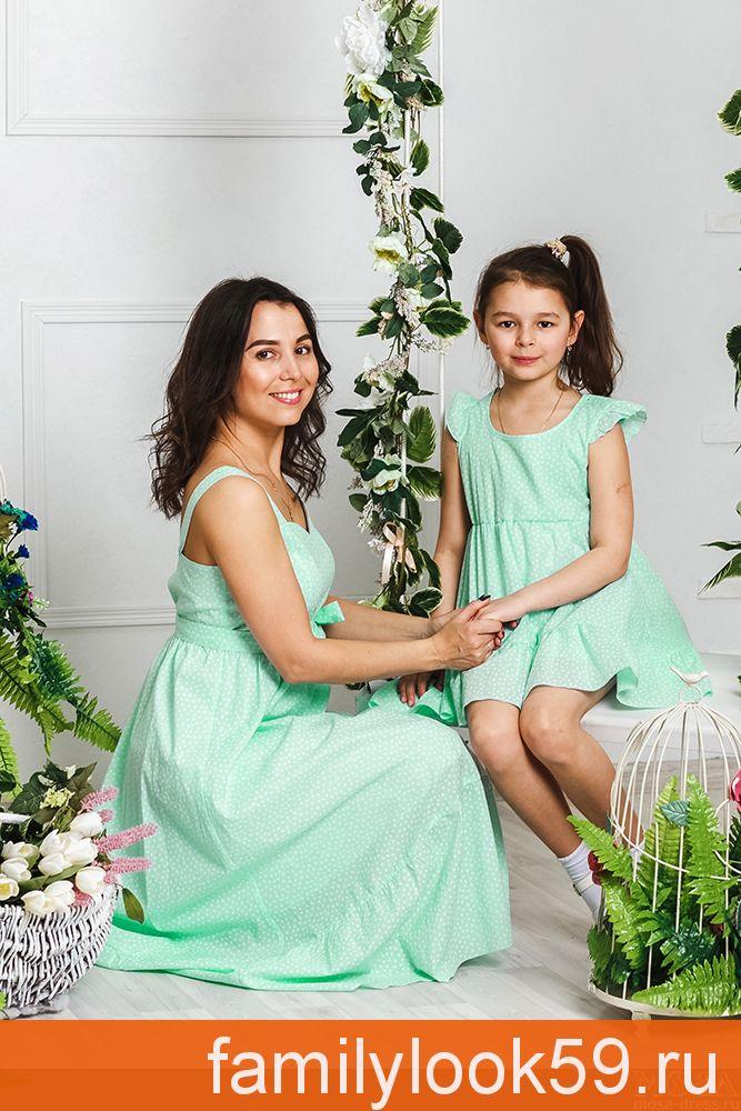 """Платья для мамы и дочки в одном стиле """"Аквамарин"""" М-2030"""