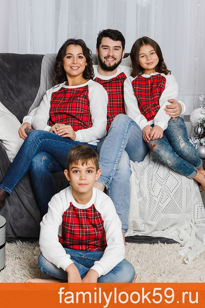 """Комплект джемперов в стиле family look для всей семьи """"Шотландия"""" М-2053"""