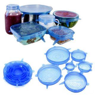 Набор силиконовых крышек, 6 шт, Цвет: Синий