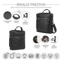 Кожаная сумка через плечо BRIALDI Preston (Престон) relief black