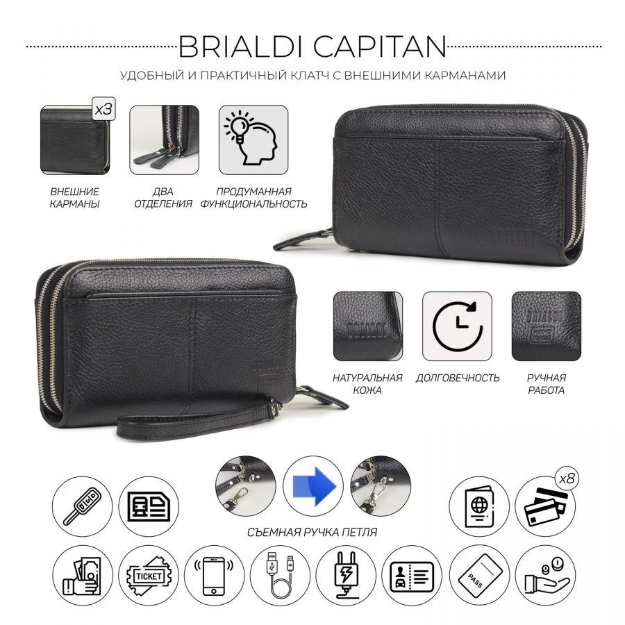 Мужской клатч с двумя отделениями BRIALDI Capitan (Капитан) relief black