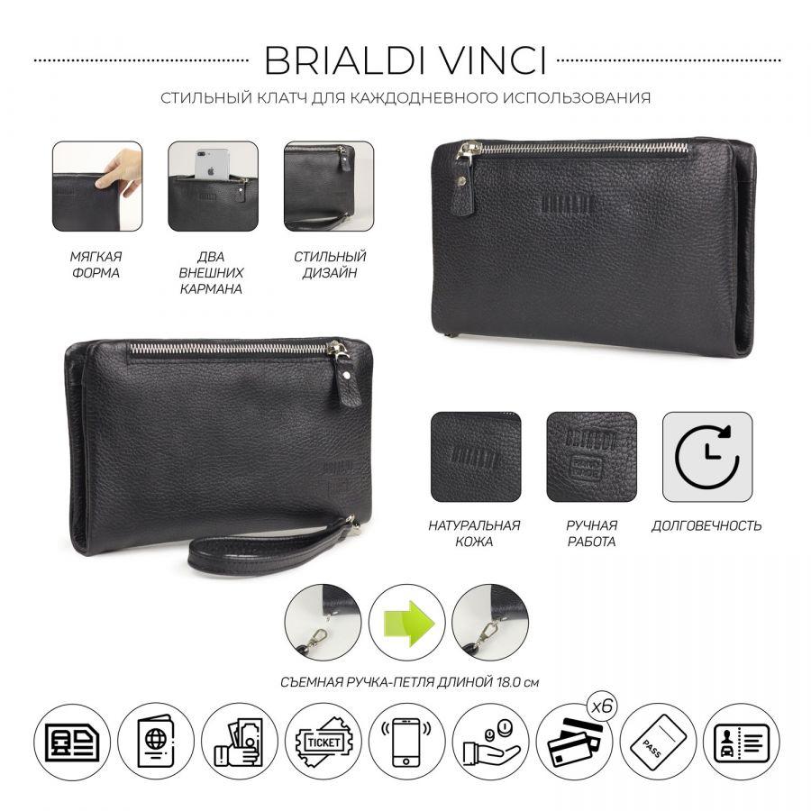 Мужской клатч мягкой формы с двумя внешними карманами BRIALDI Vinci (Винчи) relief black