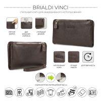 Мужской клатч мягкой формы с двумя внешними карманами BRIALDI Vinci (Винчи) relief brown