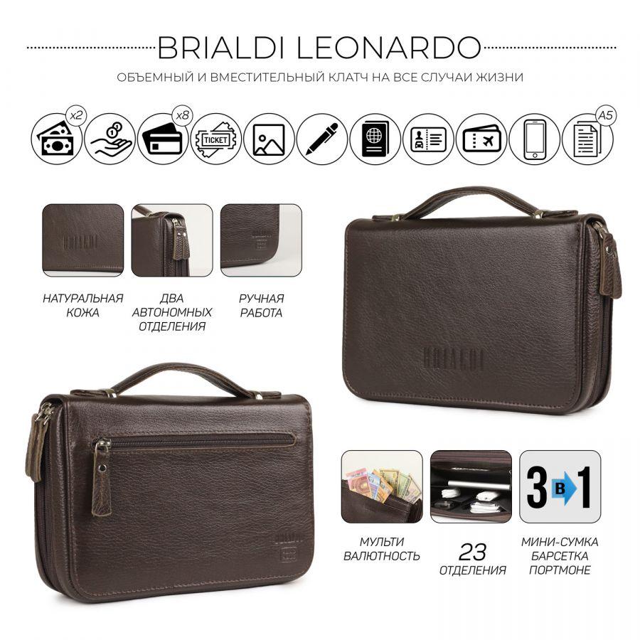 Мужской клатч с 23 карманами и отделениями BRIALDI Leonardo (Леонардо) relief brown