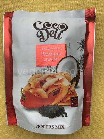 Кокосовые чипсы с перцем Чили Coco Deli,30 грамм и 100 грамм