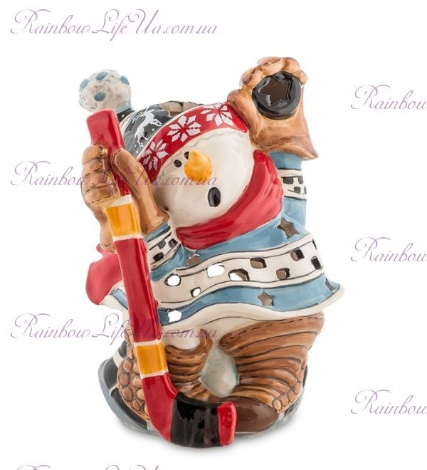 """Подсвечник снеговик хоккеист с клюшкой """"Pavone"""""""