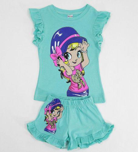 Комплект для девочек 1-4 лет Bonito бирюзовый с девочкой