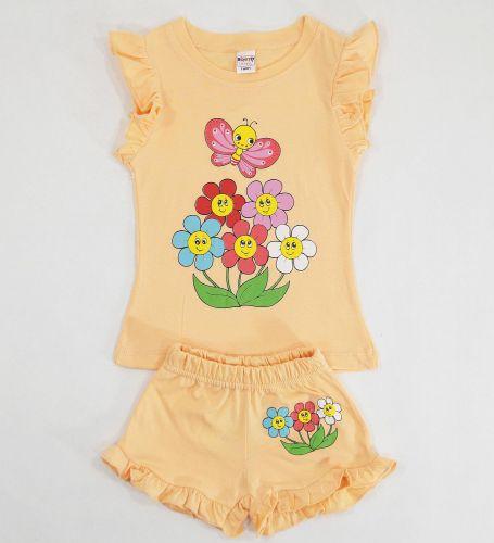 Футболка и шоры с цветами для девочек 1-4 лет