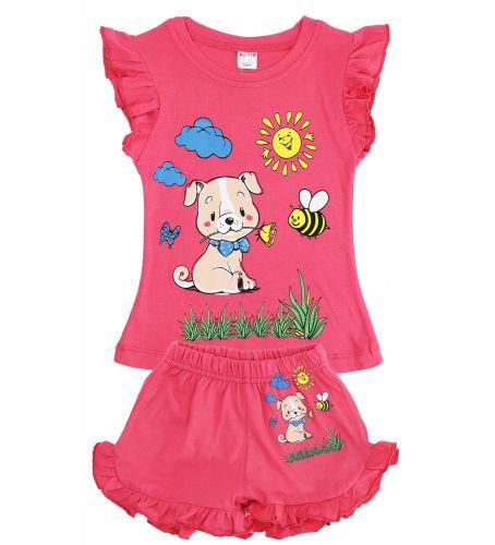 Футболка и шоры с щеночком для девочек 1-4 лет