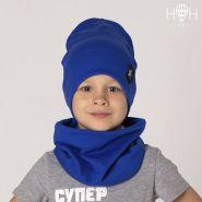 HOH ШВ19-04081814 Двухслойная трикотажная шапка с подворотом, со звездой лентой, синий