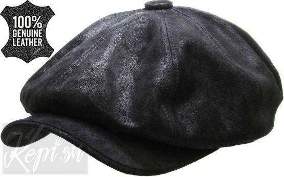 Кепка кожаная восьмиклинка американка (черная, США)