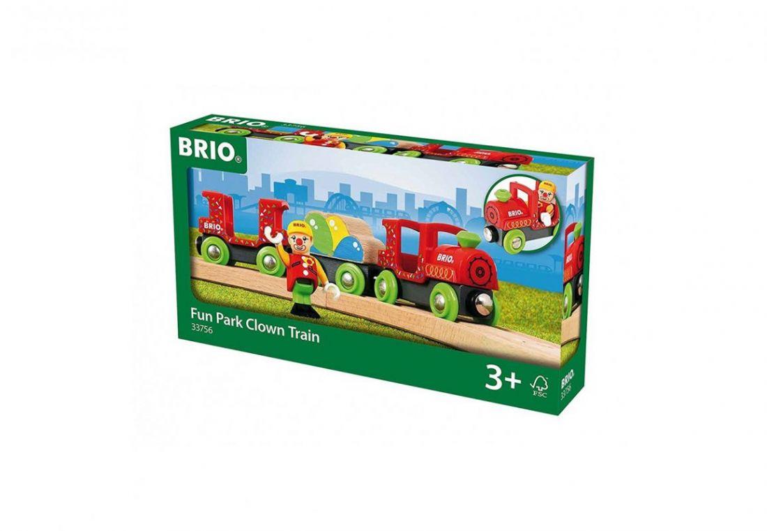 BRIO Праздничный поезд, 3 вагона, клоун, груз