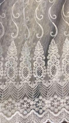Тюль турецкая вышивка на микро сетке веера 2