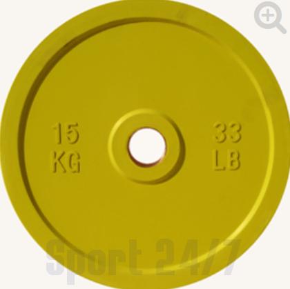 Диск цветной обрезиненный Johns (DR71025 OP) 15кг (Д-51-мм)