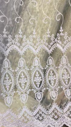Тюль турецкая вышивка на микро сетке окошки 4