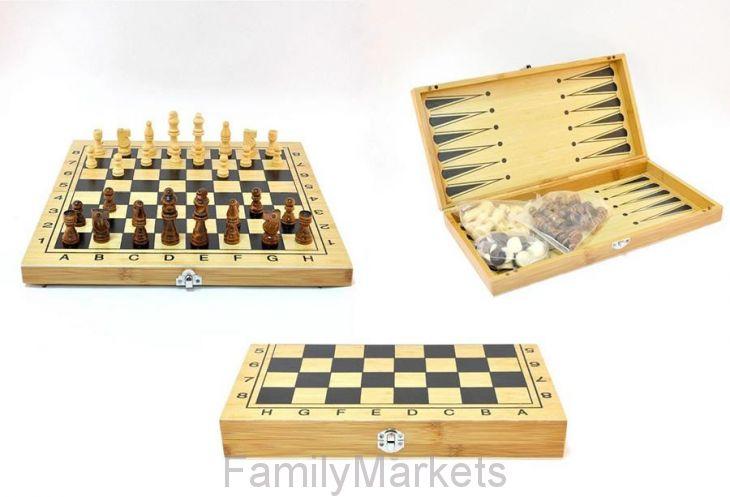 Настольная игра 3 в 1 Шахматы, Шашки, Нарды (деревянные )