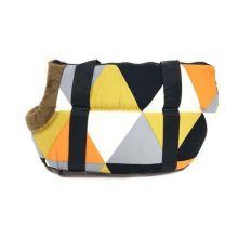 Сумка-переноска для собак с меховой отделкой Геометрия, Рисунок: Треугольники цветные