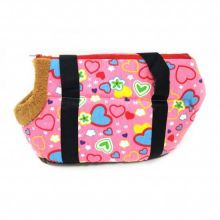 Сумка-переноска для собак с меховой отделкой Сердечки, Цвет: Розовый