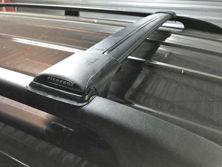 Багажник на рейлинги Subaru Forester SJ 2012-..., FicoPro R-54, черный, крыловидные аэродуги
