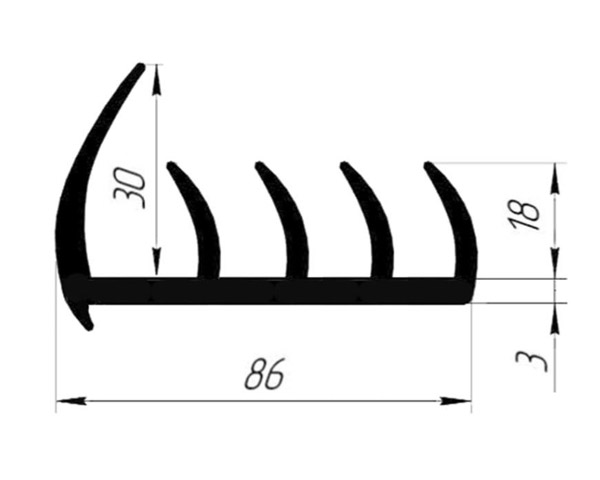 Уплотнитель резиновый 86 мм (4 лепестка) (Арт.: 58086)