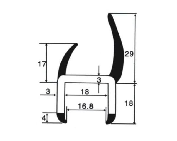 Уплотнитель резинопластиковый 18 мм (Арт.: 58918)