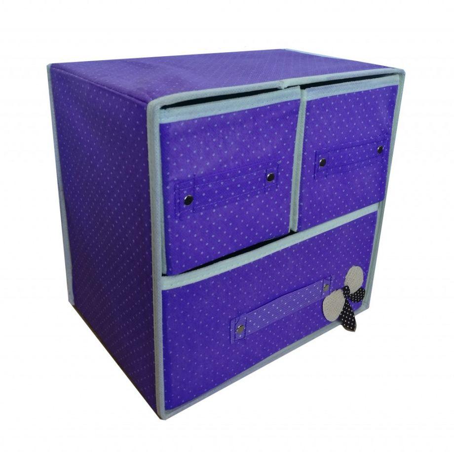 Складной мини-комод с 3 ящиками, 29х20х28 см, Цвет Сиреневый