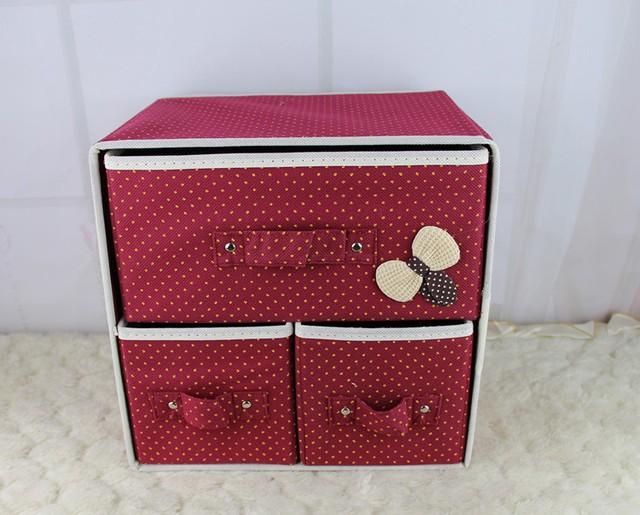 Складной мини-комод с 3 ящиками, 29х20х28 см, Цвет Бордовый