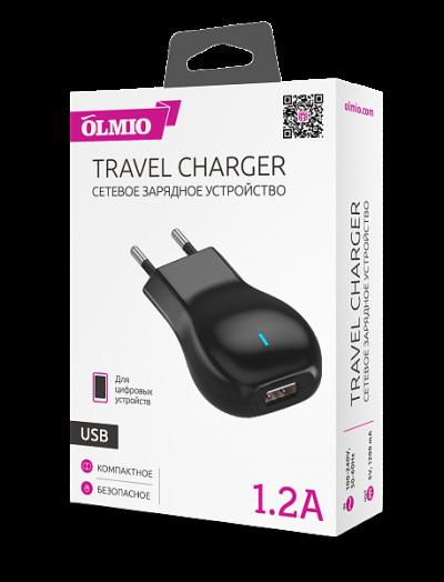 Сетевое зарядное устройство 1 USB, 1.2А, черный, OLMIO