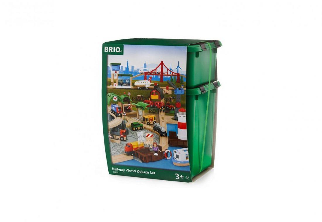 """BRIO Игровой набор супер-делюкс """"Город"""" с аэропортом, фермой, автостанцией, звук,свет"""