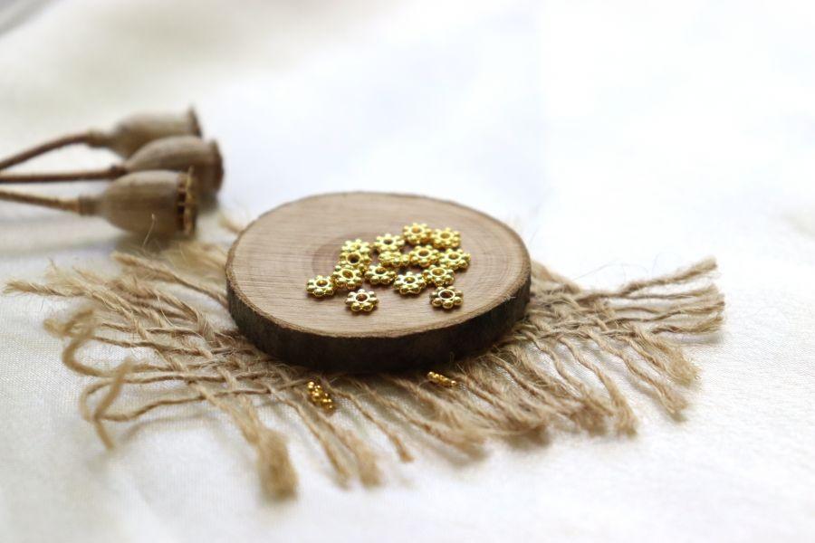 Металлические бусины, Рондель классический, золото 4 мм, 30 шт/упак