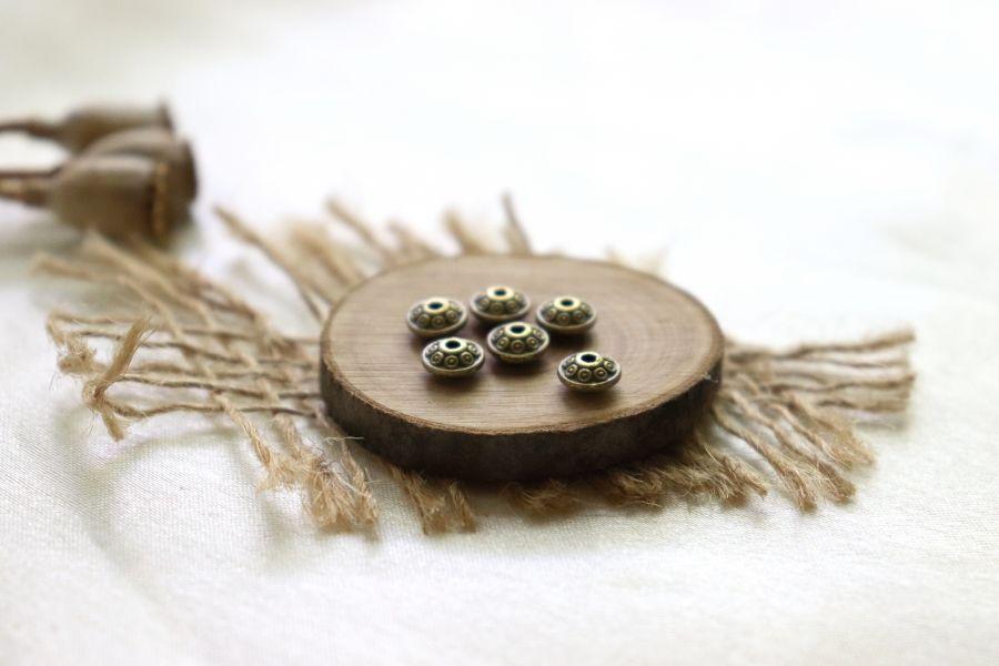 Металлические бусины, Рондель диск точки, бронза 6 мм, 8 шт/упак