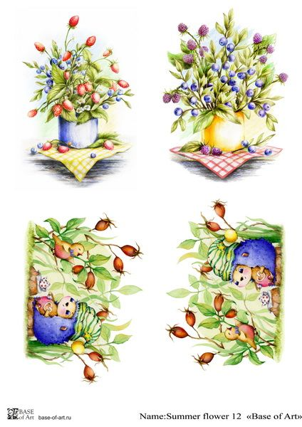 Декупажная карта Base of art, Summer flower 12